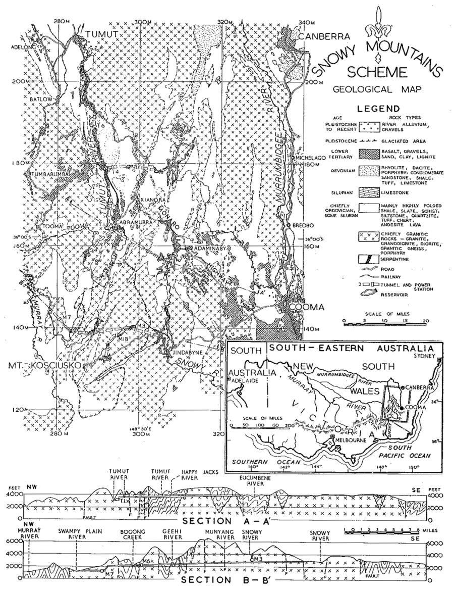 Fig. 1. Geological Map of the Snowy Mountains Area