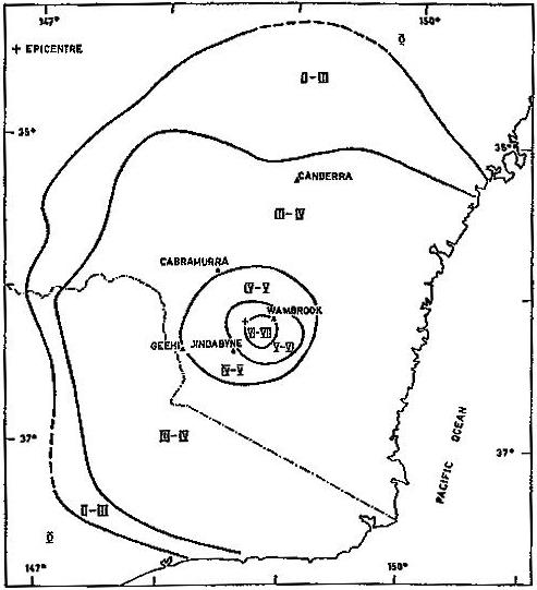 Fig. 2. Isoseismal map for Berridale earthquake.